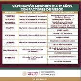 Vacunación en menores de 12 a 17 años de Tamaulipas iniciará el 26 de octubre
