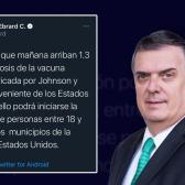 Mañana llegan a México vacunas para fronterizos mayores de 18 años
