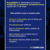 A partir de hoy activan en Tamaulipas operativos sanitarios en puentes fronterizos