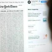 NYT dedica su portada con los nombres de las casi 100 mil víctimas mortales de covid-19 en EUA