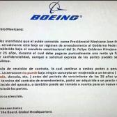 Circula carta falsa de Boeing acerca de avión presidencial