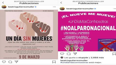 Beatriz Gutiérrez Müller promueve #DíaSinMujeres y luego se arrepiente