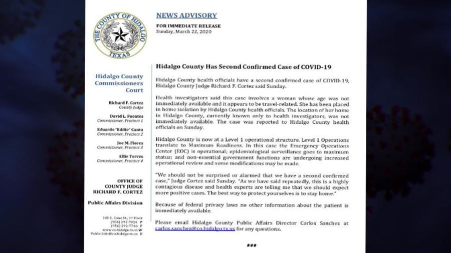 Confirman segundo caso de coronavirus en McAllen