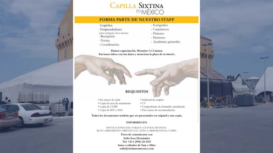 Capilla Sixtina en Reynosa promueve bolsa de trabajo