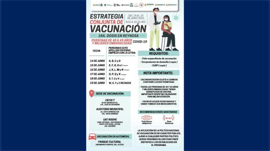 Inicia este lunes vacunación COVID-19 para adultos de 40-49 años