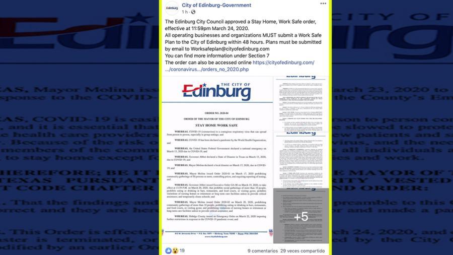"""Ordena Edinburg """"permanecer en casa"""" por coronavirus"""