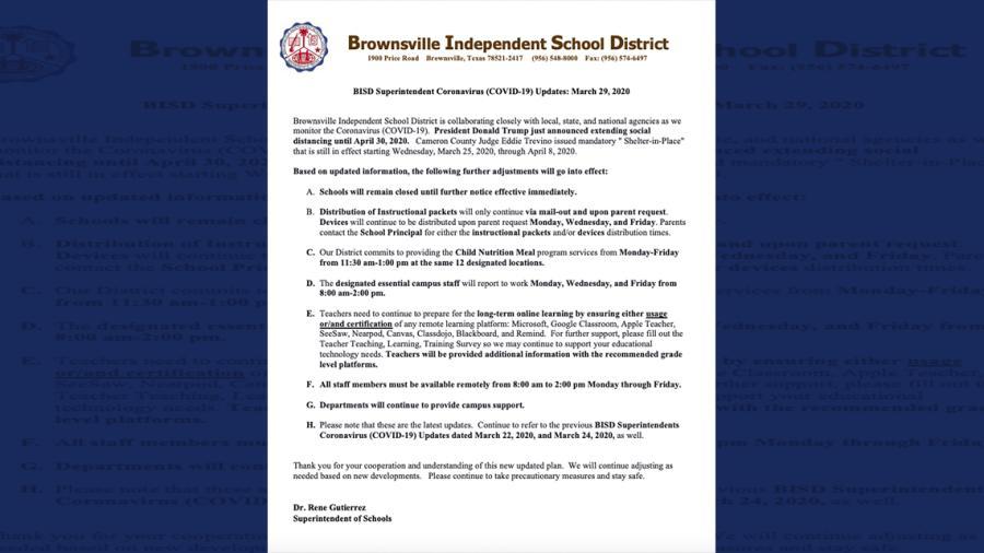 Brownsville ISD cancela clases hasta nuevo aviso