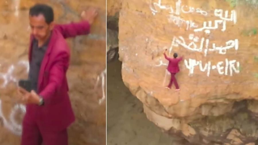 ¡Impresionante! Hombre se coloca al borde de un volcán para tomarse una selfie