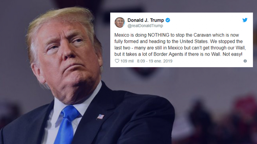 """Acusa Trump a México de """"no hacer nada"""" para detener caravana de migrantes"""