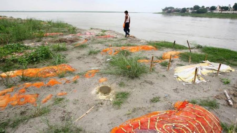 Río Ganges deja descubiertas las tumbas de los muertos por Covid-19