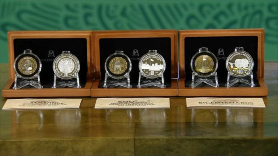Presenta Secretaría de Economía 6 monedas conmemorativas