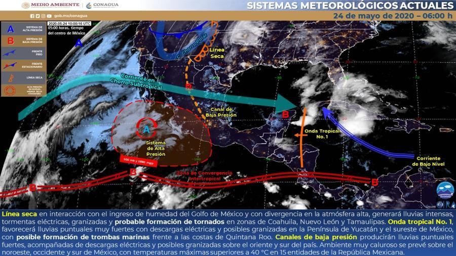 Lluvias puntuales intensas y probable formación de tornados en Coahuila, Nuevo León y Tamaulipas