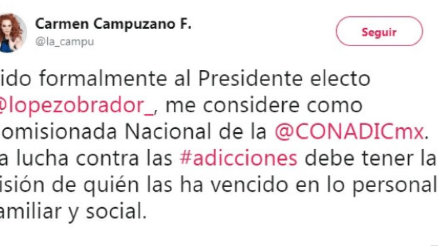 """Carmen Campuzano: """"#PidoFormalmenteAlPresidenteElecto"""""""
