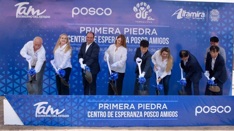 Colocan en Altamira primera piedra del Centro de Esperanza POSCO Amigos