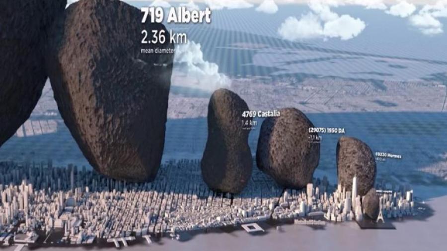 Diseñador presenta comparativa de asteroides con objetos de la Tierra