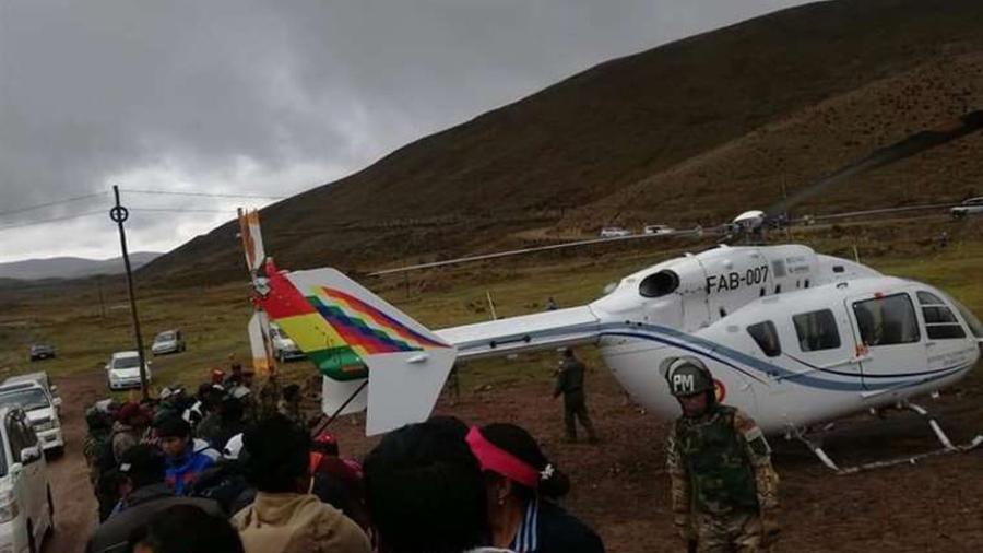 Helicóptero del presidente Evo Morales aterriza de emergencia por falla mecánica
