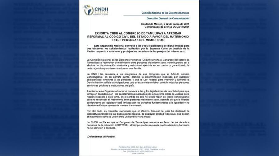 CNDH exhorta a Congreso de Tamaulipas a aprobar reformas a favor del matrimonio igualitario