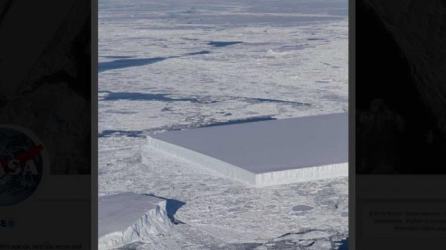 Sorprende fotografía de iceberg en forma rectangular