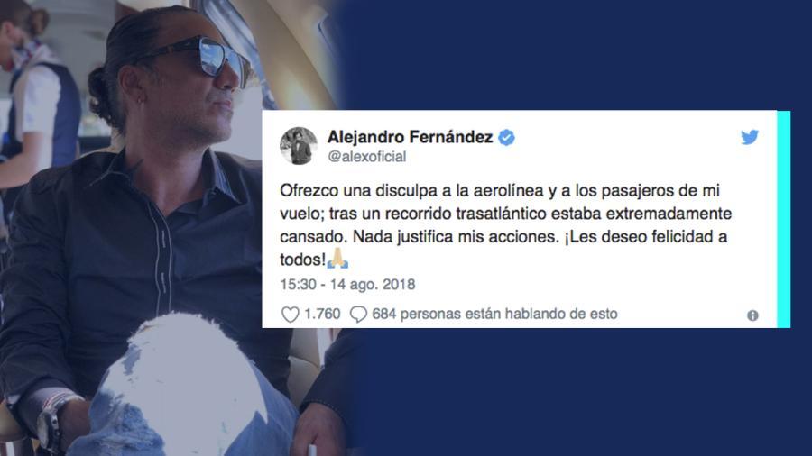 Se disculpa Alejandro Fernández por incidente en avión