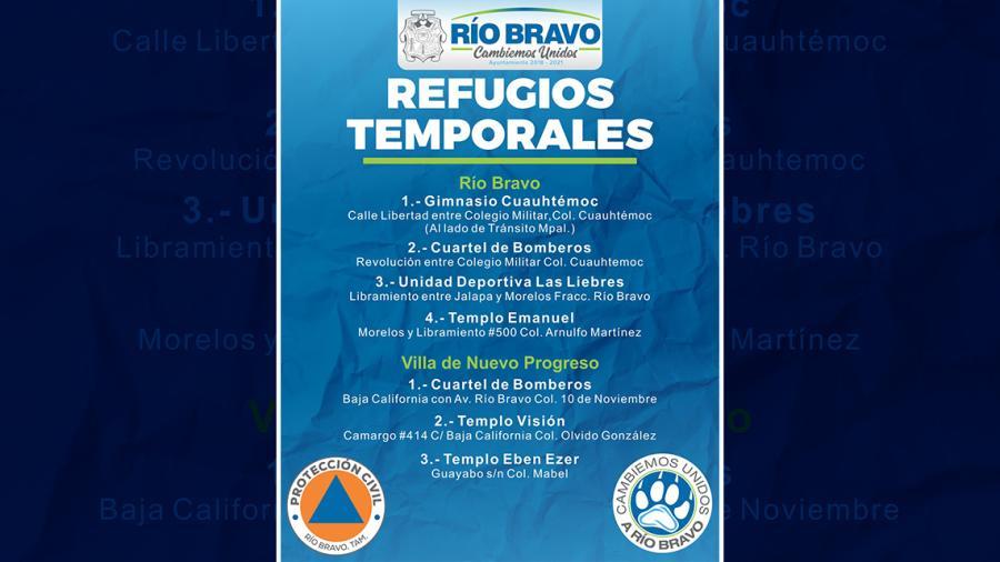Abren refugio temporal en Río Bravo por frente frío