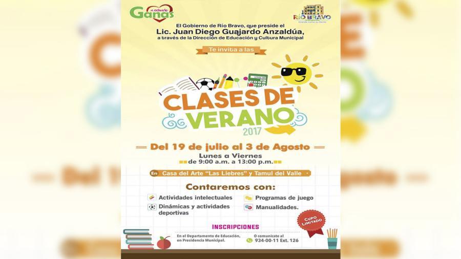 """Invita Ayuntamiento a """"Clases de Verano 2017"""""""