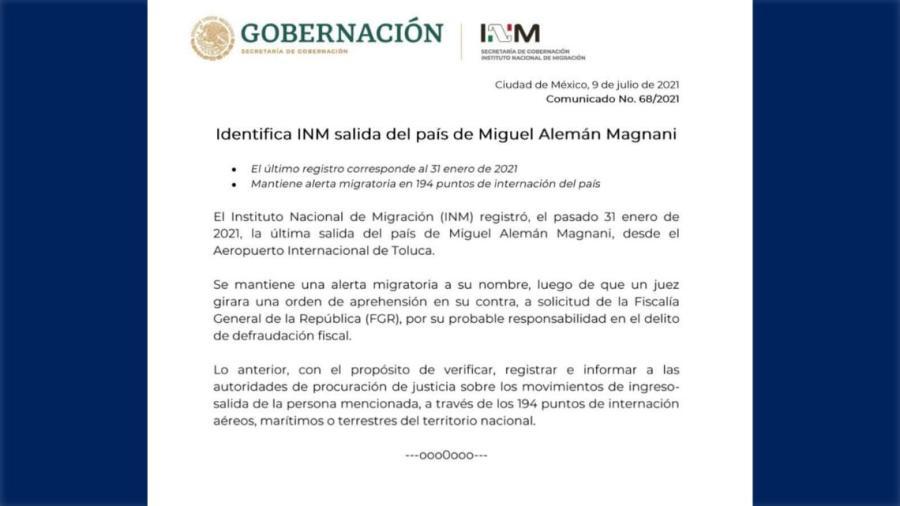 Informa Segob sobre alerta migratoria por salida de Miguel Alemán Magnani