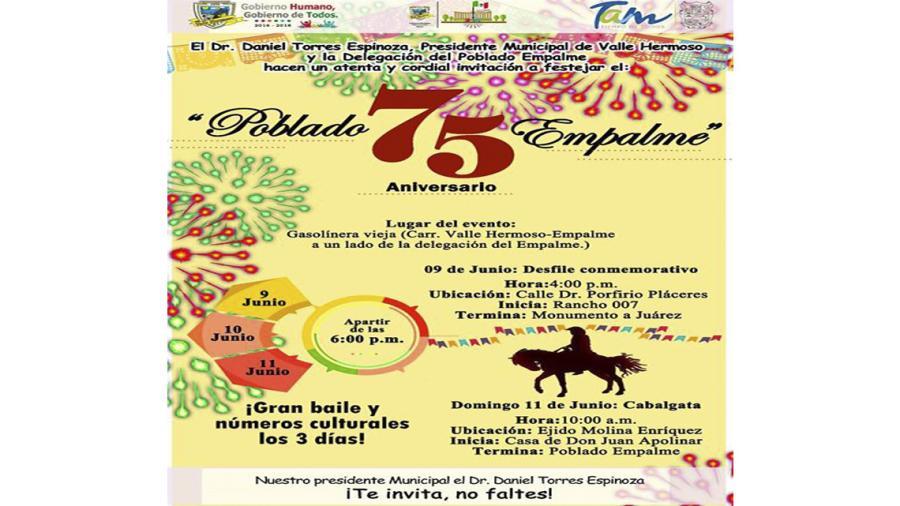 """Celebrarán el """"75 Aniversario"""" del poblado Empalme"""