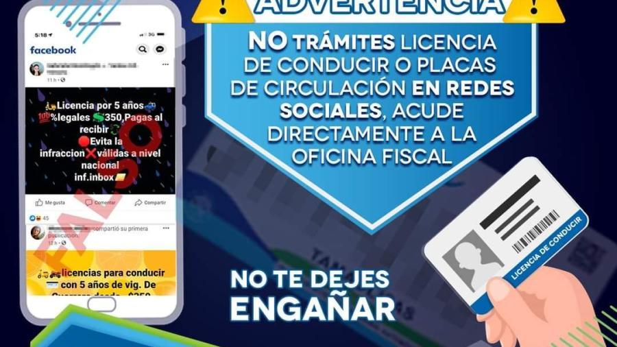 Alertan por estafas en trámites de licencias a través de redes sociales