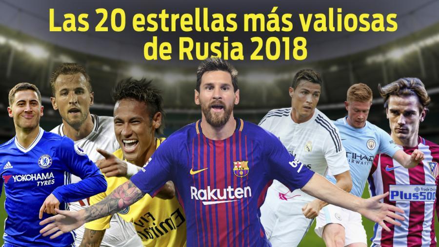 Las estrellas del fútbol más valiosas de Rusia 2018