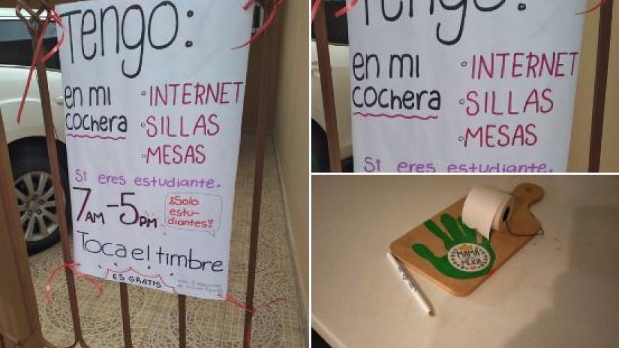 Madre e hija ofrecen internet gratuito en su casa para los estudiantes
