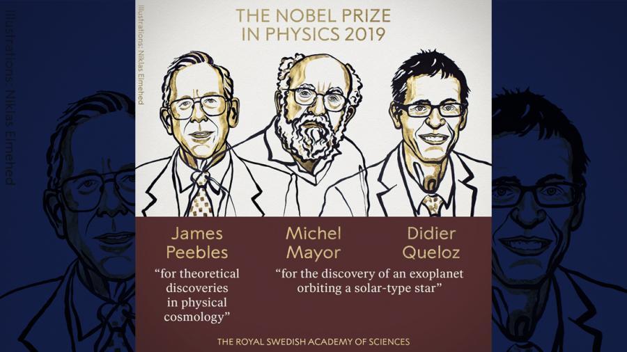 Otorgado el premio Nobel de Física a James Peebles, Michel Mayor y Didier Queloz