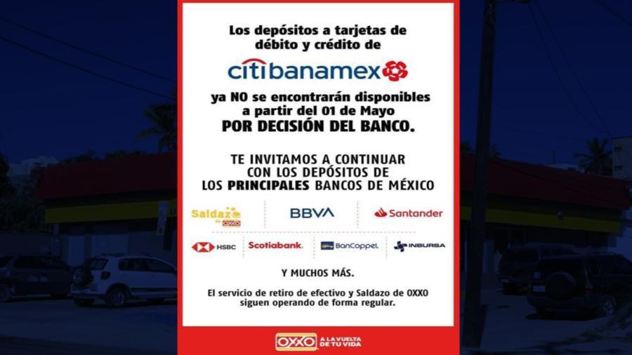Oxxo dejará de recibir depósitos de Citibanamex