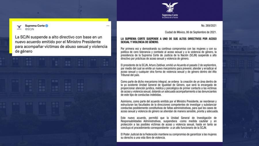 Suspende la SCJN a uno de sus altos directivos por acoso sexual
