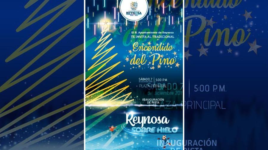 Invita Gobierno de Reynosa a Encendido del Pino e Inauguración de Pista de Hielo