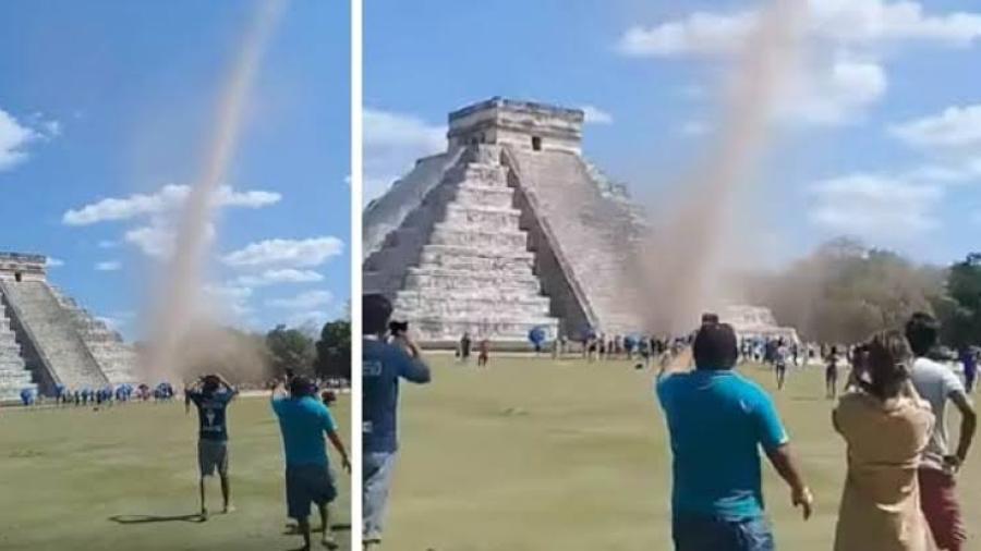 Torbellino en Chichén Itzá sorprende a turistas