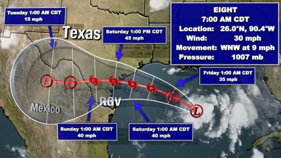 Tormenta tropical llegaría a las costas del sur de Texas en las próximas 48 horas