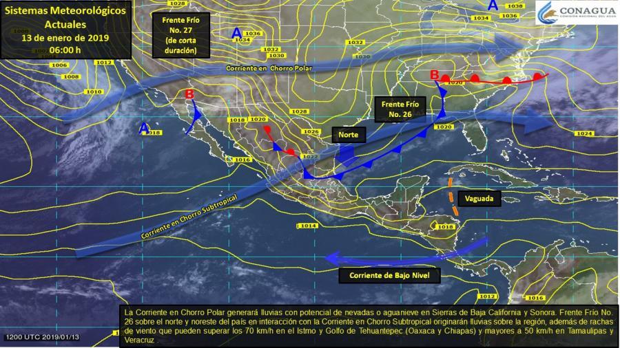 Frente frío no. 26 ocasionará tormentas puntuales fuertes en estados del oriente y sureste
