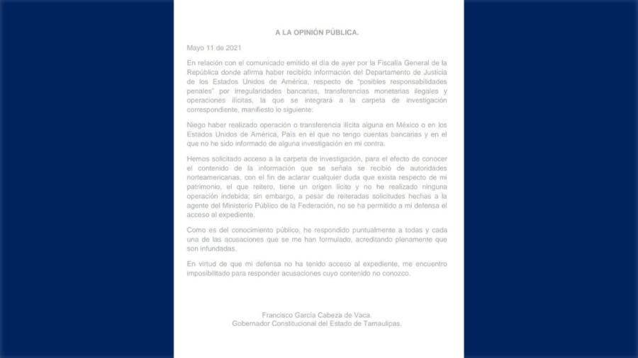 Niego haber realizado operación o transferencia ilícita alguna en México o Estados Unidos: CDV