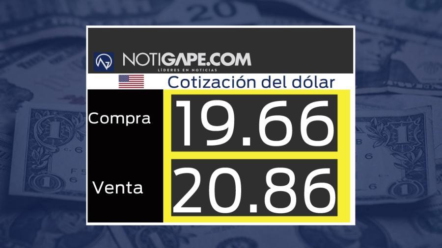 Dólar cotiza a la venta en 20.86 pesos