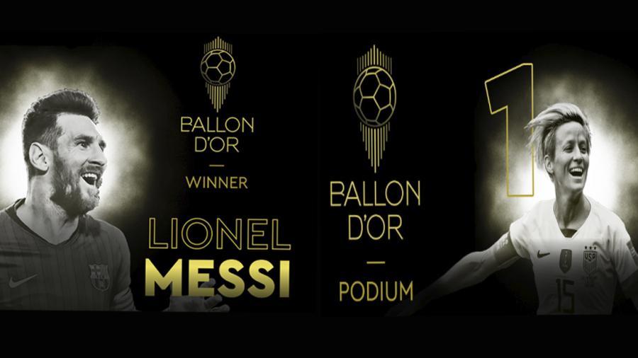 Lionel Messi y Rapinoe, ganadores del Balón de Oro 2019