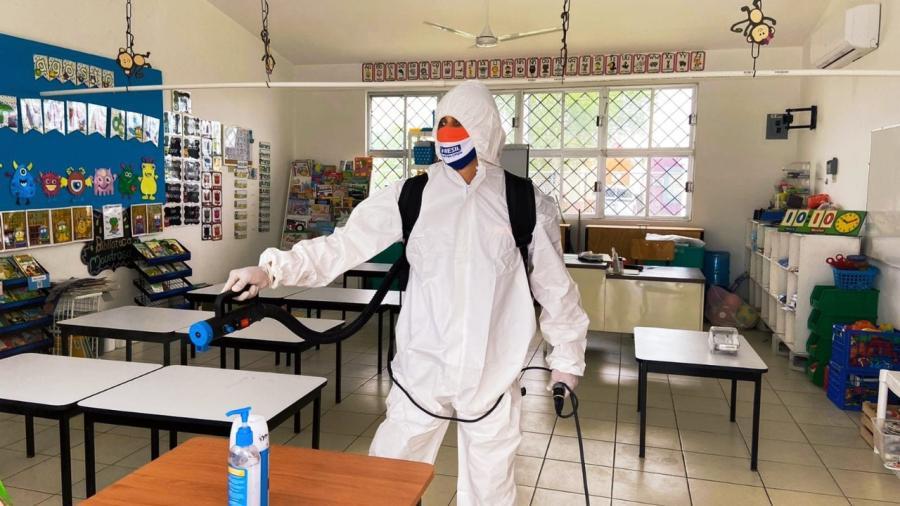 En campaña de higienización del partido Verde se han atendido a 121 aulas educativas en Matamoros
