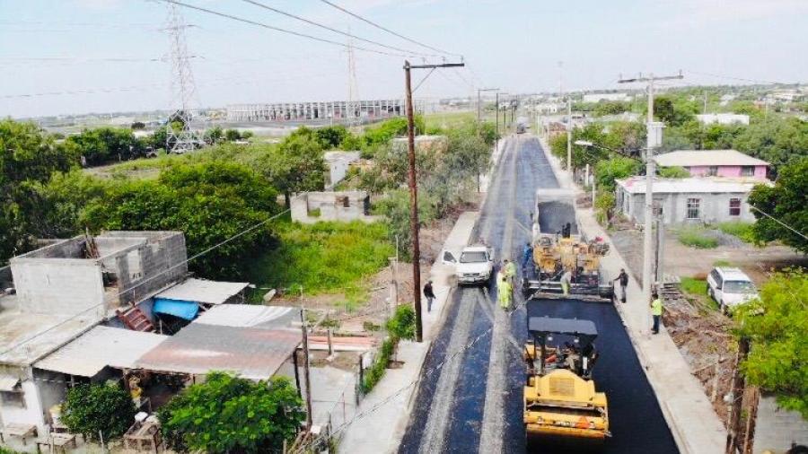 Aplica Gobierno de Matamoros 3.5 mdp en pavimentación de acceso en colonia de Villa Cortez