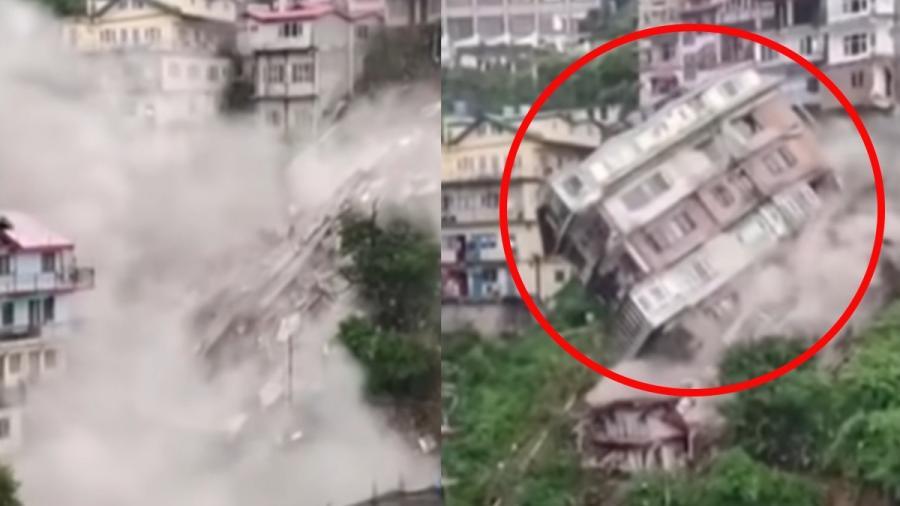 Captan impresionante derrumbe de un edificio India