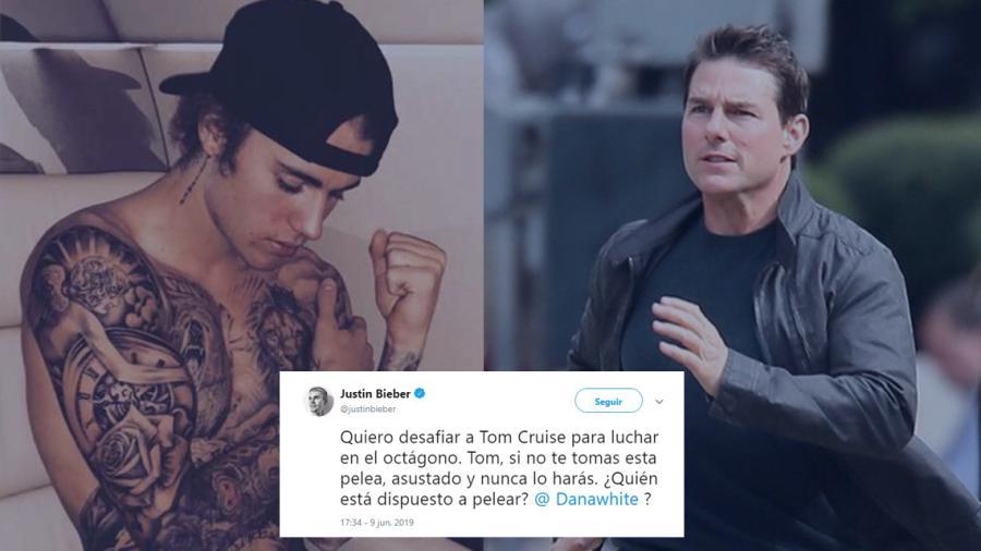 Justin Bieber reta a Tom Cruise a una pelea