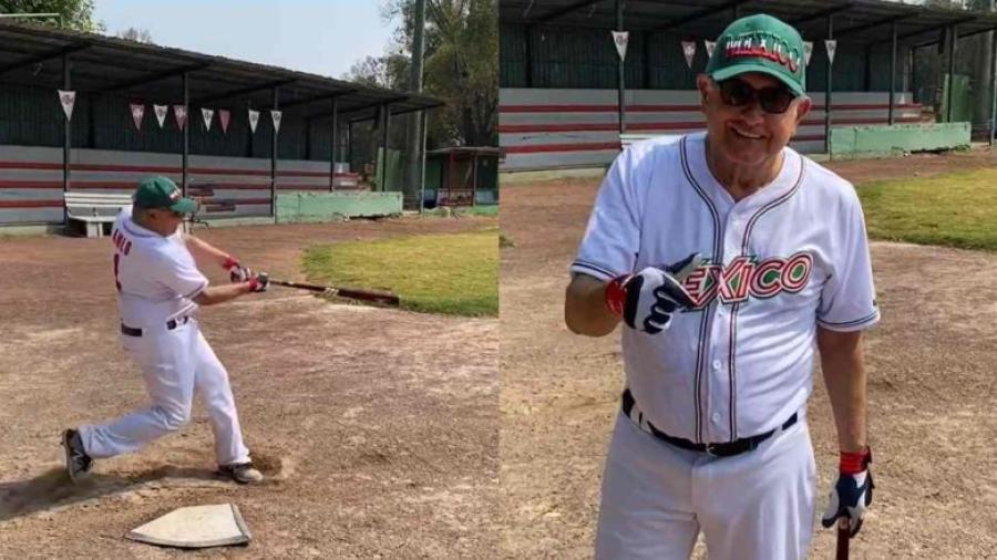 """""""Estoy poniéndome en forma, macaneando"""", dice AMLO en práctica de béisbol"""