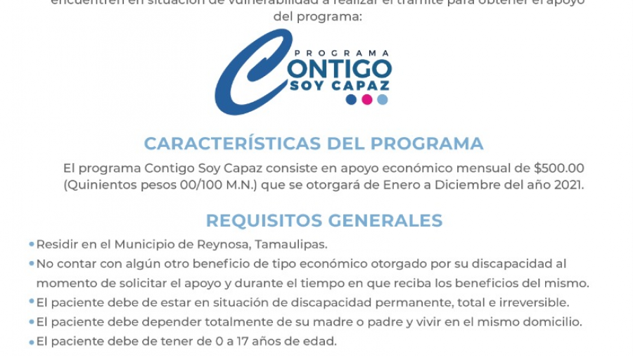 """DIF Reynosa realiza registro del programa """"Contigo Soy Capaz"""""""