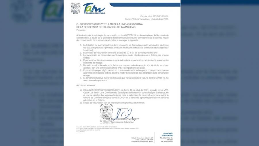 SST comparte estrategia de vacunación para maestros en Tamaulipas