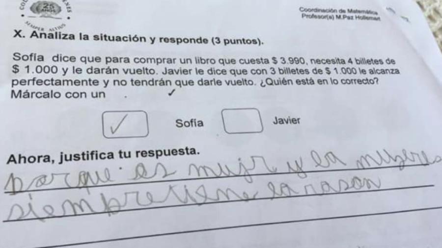 """""""Las mujeres siempre tienen la razón"""", escribió niño en examen"""