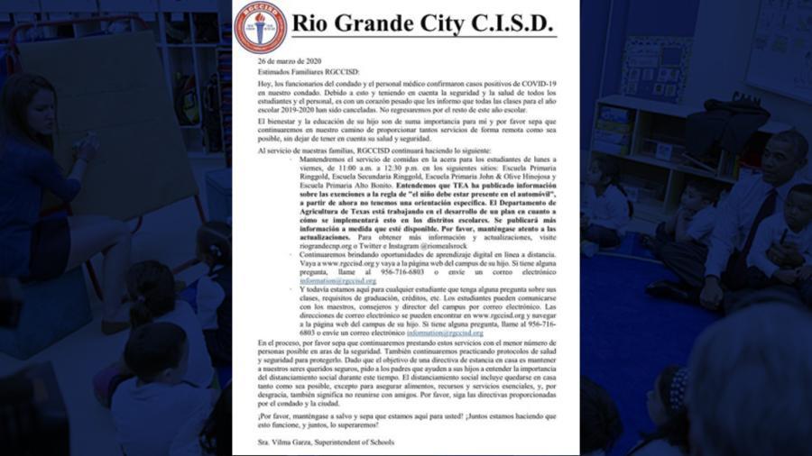 Tras aumento de casos de covid-19, Distrito escolar Río Grande City  cancela clases por el resto del año