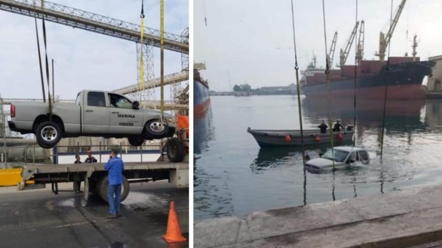 Camioneta de marinos cae al mar en Veracruz